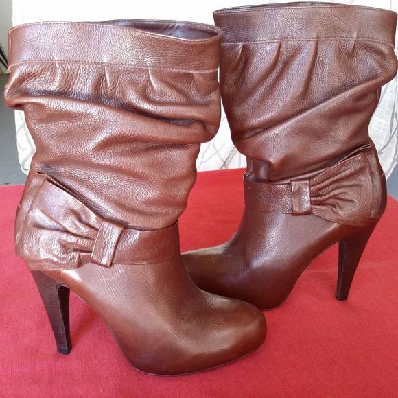 bba38838d00f Gianni Bini Shoes - Gianni Bini Chocolate Leather Mid Calf Heel Boots